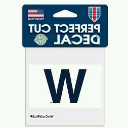 """CHICAGO CUBS FLY THE W PERFECT CUT DECAL 3""""X4"""" FOR WINDOWS P"""
