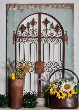 Distressed Vintage French Country Wood Metal Garden Gate Arc