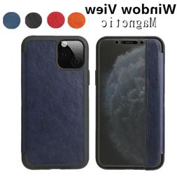 magnetic leather flip view window case cover