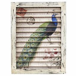 Peacock Vintage-Style French Postcard Floral Art Window Shut