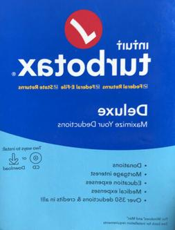 Turbotax Intuit Deluxe 2019 CD Software & Download Tax Prep