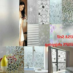 Waterproof Frosted Privacy Window Lot Glass Cling Cover Film