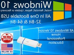 Microsoft Windows 10 Pro 64bit 32bit USB Bootable Flash Driv