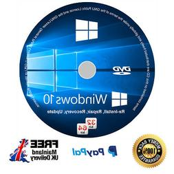 Windows 10 Pro Installation Disc + Genuine Licence Key - 64/
