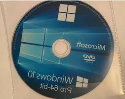 Windows 10 Pro Professional 64 Bit Boot Disc, Reinstall Disc