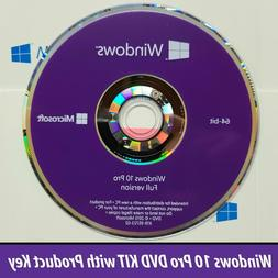 Microsoft Windows 10 Pro Professional 64bit DVD + License Co