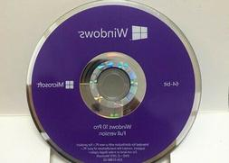 Microsoft Windows 10 Professional 64 Bit Disc NEW Plus Key )